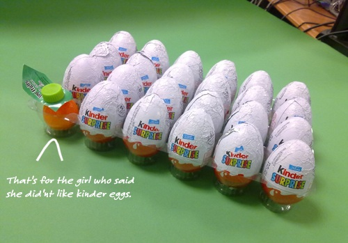 Platter of kinder eggs